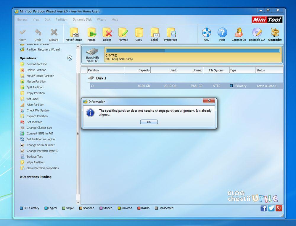 aliniere partitii SSD