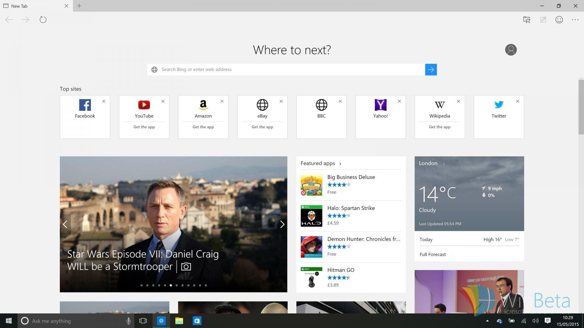 Scurtături utile pentru Microsoft Edge